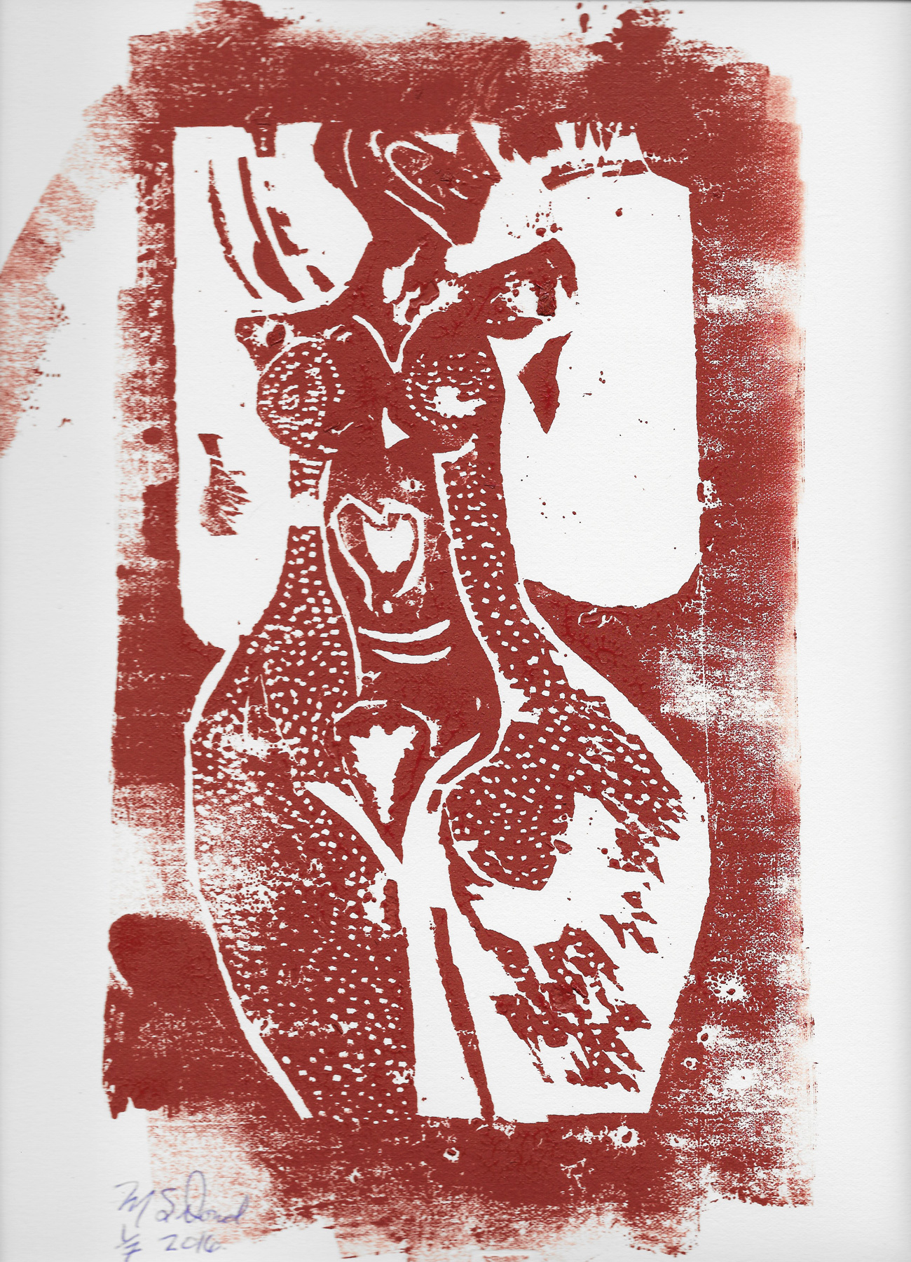 Nude in Open Jacket serigraph: wood block print